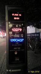 Kopenhag'taki ünlü bisiklet sayaçlarından biri. Buradan elde edilen istatistikler çok değerli.